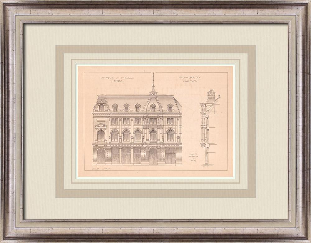 Gravures Anciennes & Dessins | Banque de l'Union Suisse - Façade latérale - St Gall - Suisse (Jwan Bartcky architecte) | Impression | 1900