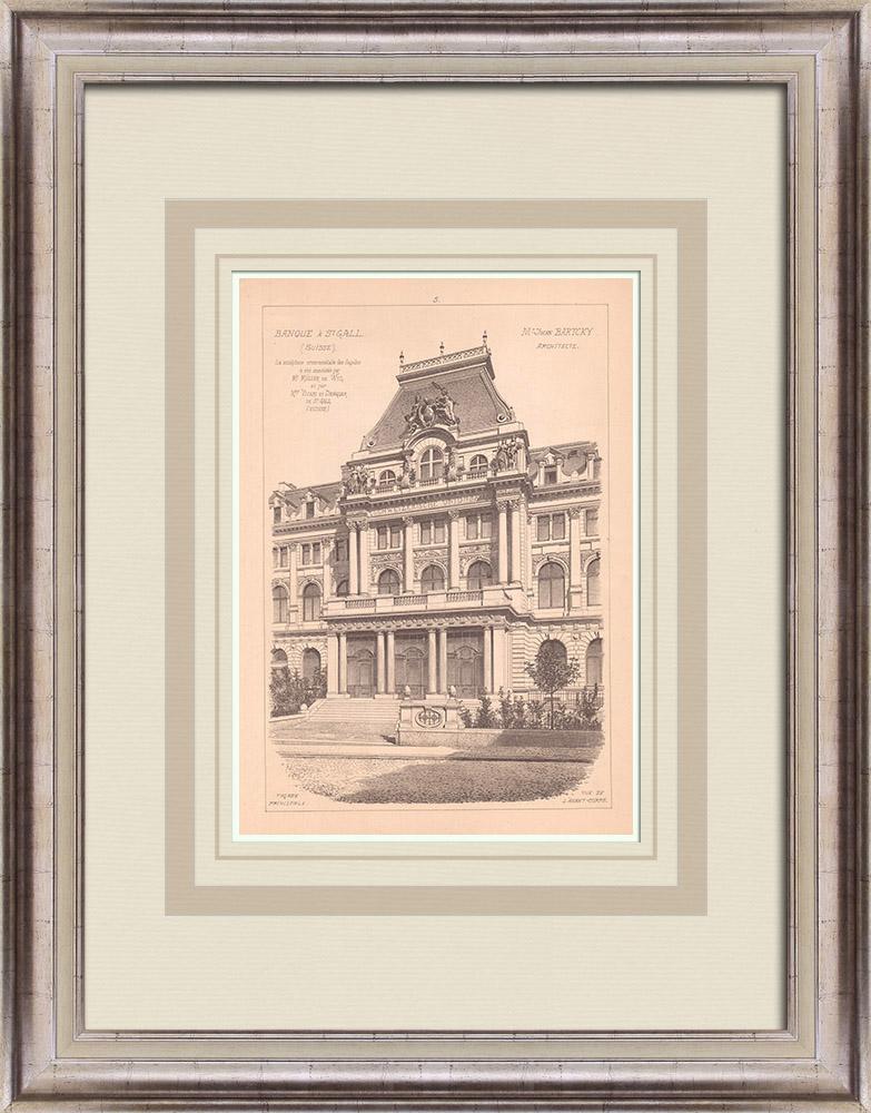 Antique Prints & Drawings   Bank - Banque de l'Union Suisse - St Gallen - Switzerland (Jwan Bartcky)   Print   1900