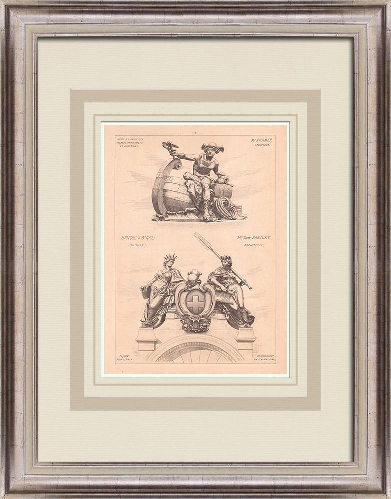 Gravures Anciennes & Dessins | Banque de l'Union Suisse - Avant-corps - St Gall - Suisse (Jwan Bartcky architecte) | Impression | 1900