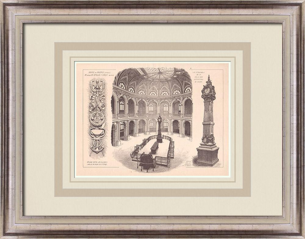 Gravures Anciennes & Dessins | Bourse de Madrid - Intérieur - Espagne (Enrique M. Repulles y Vargas architecte) | Impression | 1900