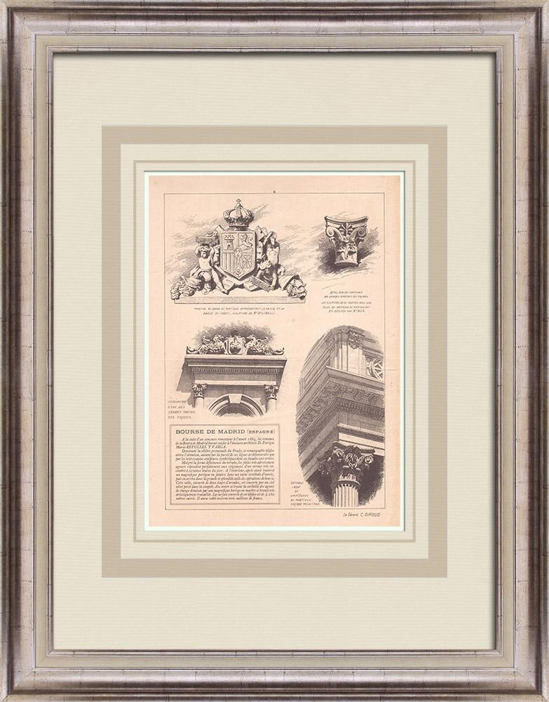 Antique Prints & Drawings   Palace of la Bolsa de Madrid - Spain (Enrique M. Repulles y Vargas)   Print   1900
