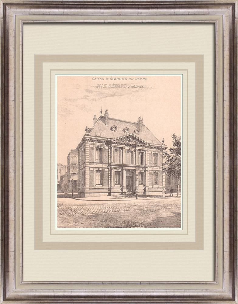 Antique Prints & Drawings | Bank - Caisse d'Epargne - Le Havre - France (E. Bénard) | Print | 1900