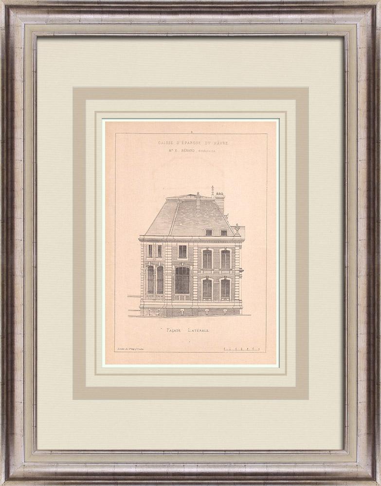 Antique Prints & Drawings   Bank - Caisse d'Epargne - Le Havre - France (E. Bénard)   Print   1900