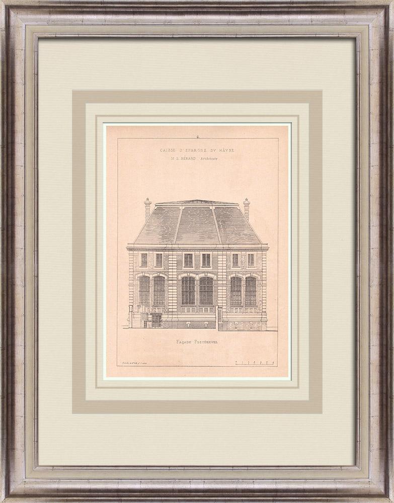 Gravures Anciennes & Dessins | Banque - Caisse d'Epargne - Façade postérieure - Le Havre - France (E. Bénard architecte) | Impression | 1900