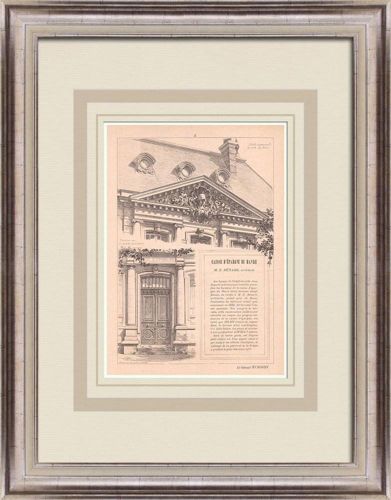 Gravures Anciennes & Dessins | Banque - Caisse d'Epargne - Fronton - Le Havre - France (E. Bénard architecte) | Impression | 1900