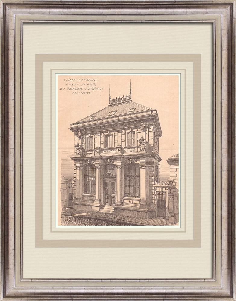 Antique Prints & Drawings | Bank - Caisse d'Epargne - Melun - France (Pronier & Harant) | Print | 1900