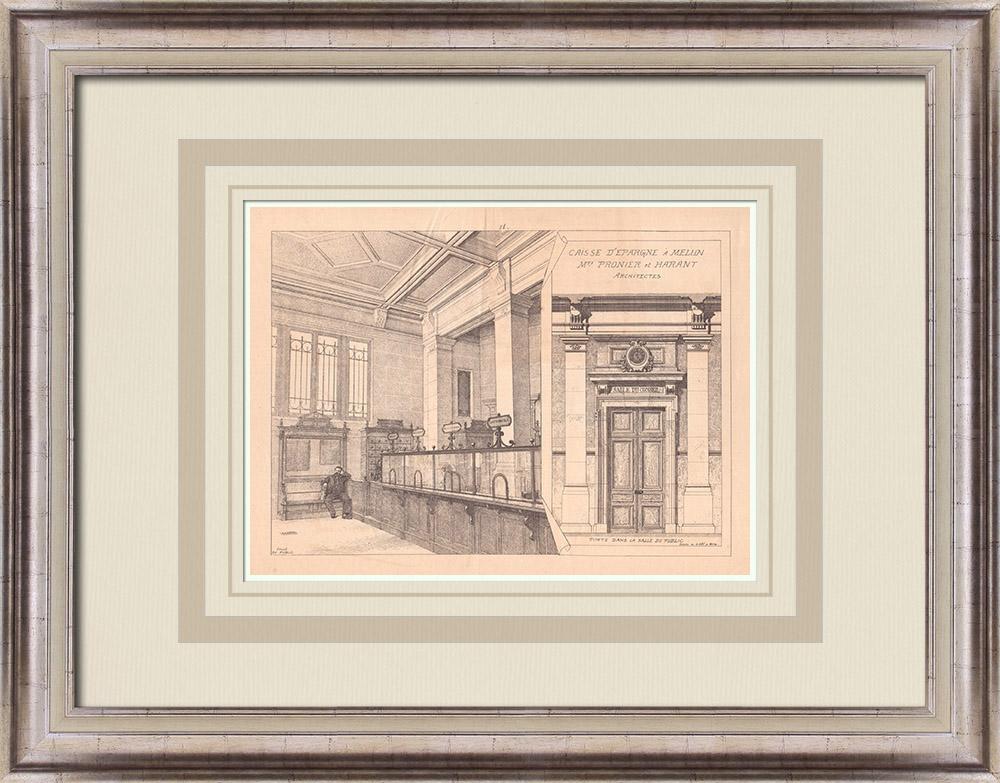 Gravures Anciennes & Dessins   Banque - Caisse d'Epargne - Melun - France (Pronier & Harant architectes)   Impression   1900