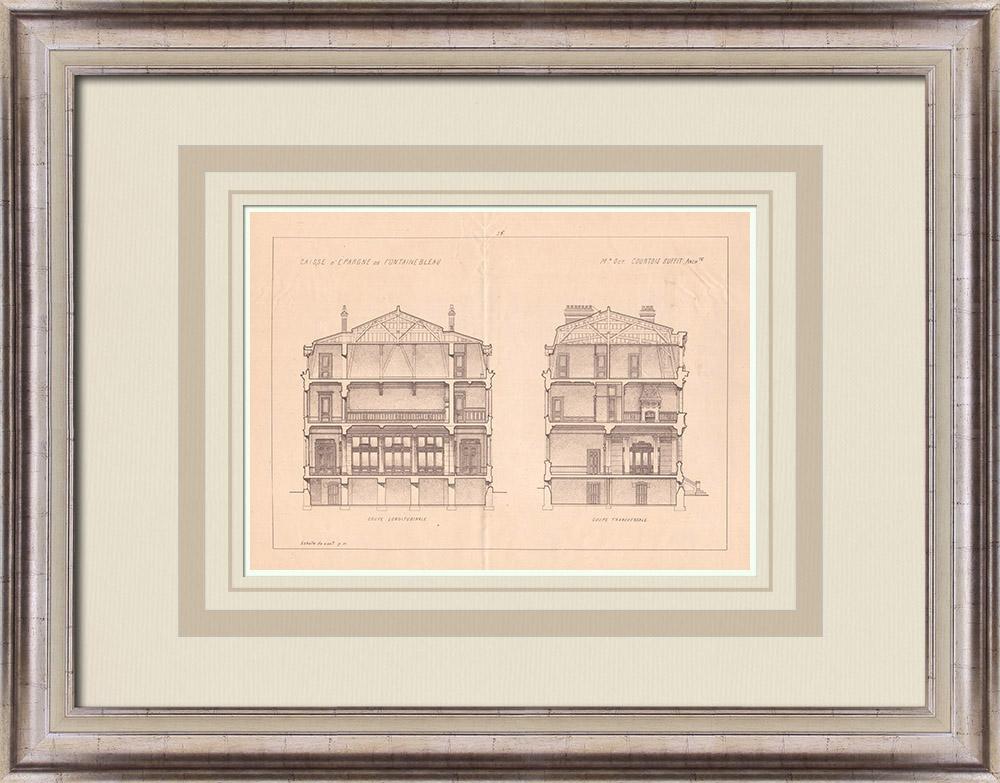 Antique Prints & Drawings | Bank - Caisse d'Epargne - Fontainebleau - France (Courtois-Suffit) | Print | 1900