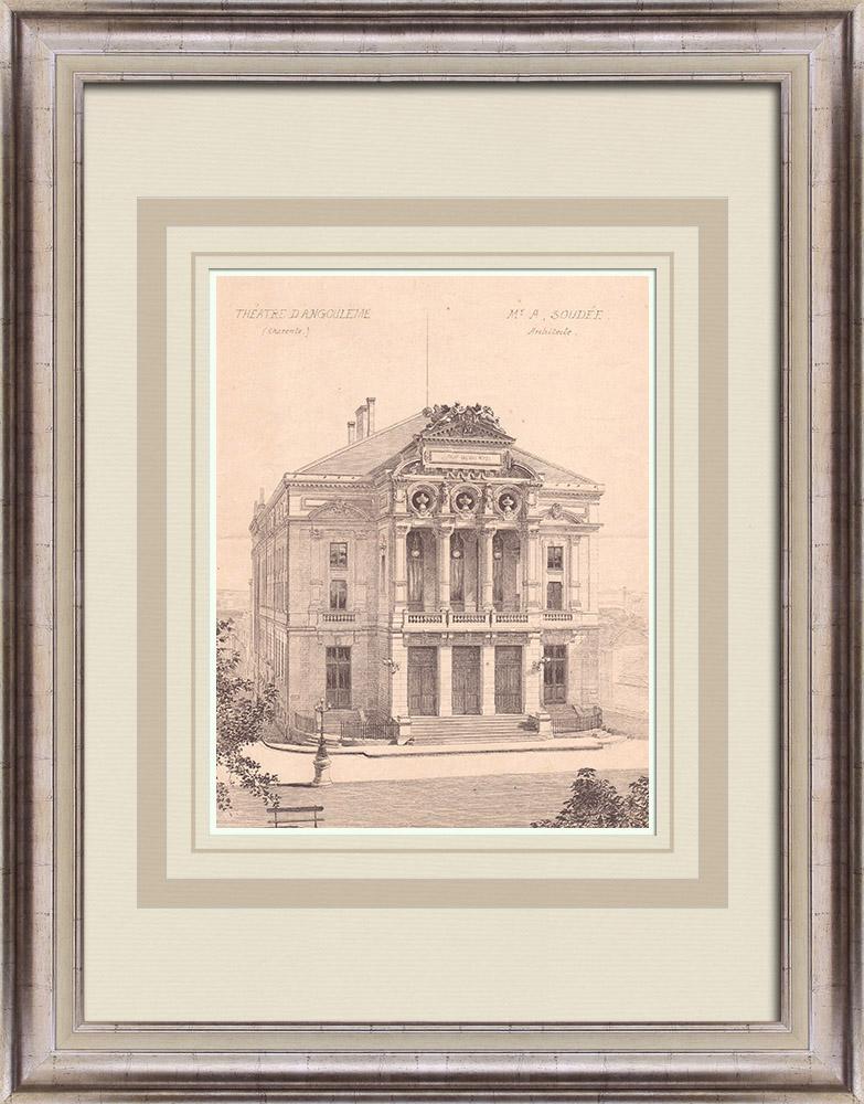 Gravures Anciennes & Dessins | Théâtre d'Angoulême - France (A. Soudée architecte) | Impression | 1900