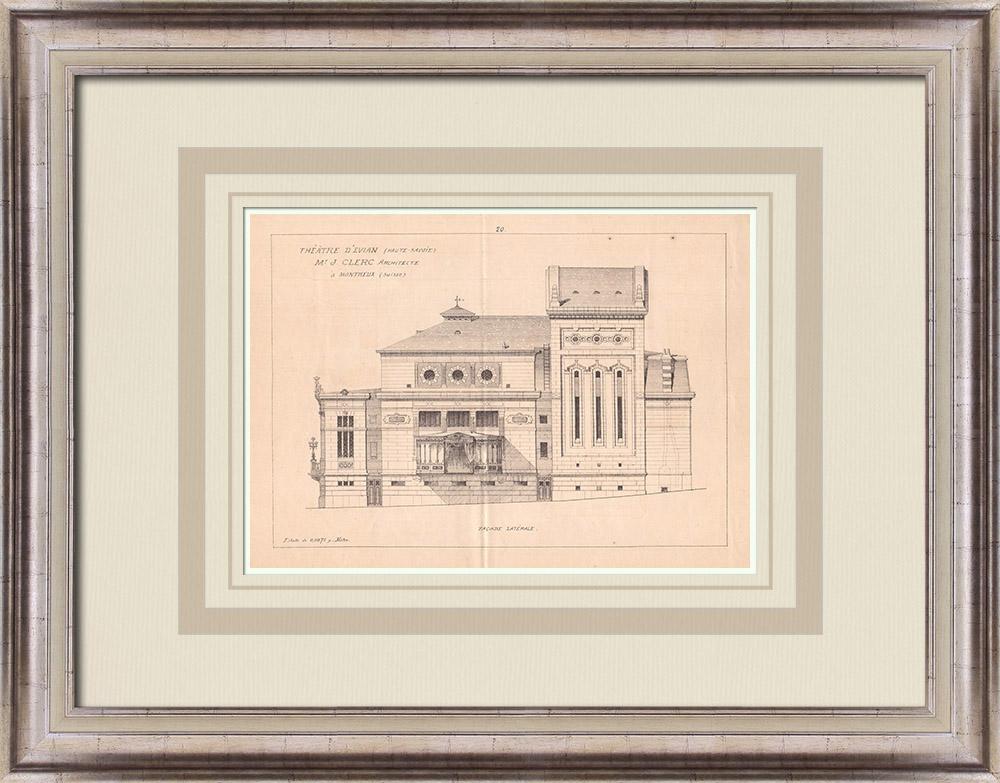 Gravures Anciennes & Dessins | Théâtre d'Évian-les-Bains - France (J. Clerc architecte) | Impression | 1900