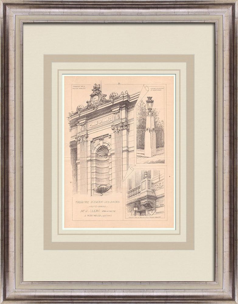 Antique Prints & Drawings | Theater - Évian-les-Bains - France (J. Clerc) | Print | 1900