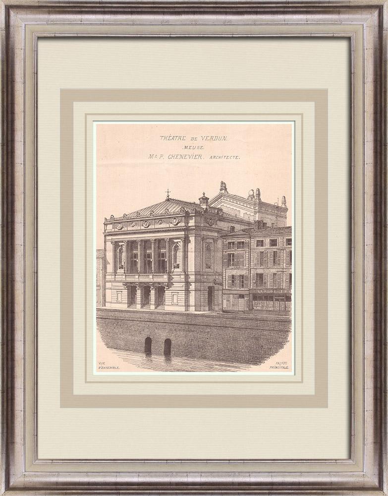 Gravures Anciennes & Dessins | Théâtre de Verdun - France (P. Chenevier architecte) | Impression | 1900