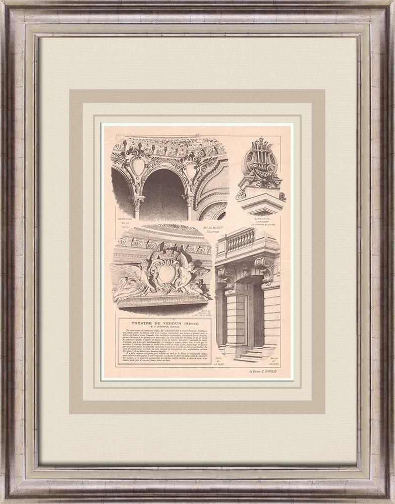 Gravures Anciennes & Dessins | Théâtre de Verdun - Intérieur - France (P. Chenevier architecte) | Impression | 1900