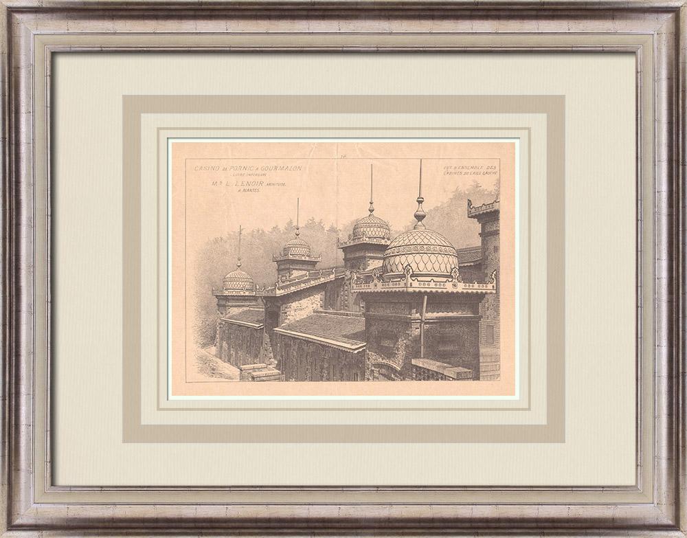 Gravures Anciennes & Dessins | Casino de Pornic - Anse de Gourmalon - France (Léon Lenoir architecte) | Impression | 1900
