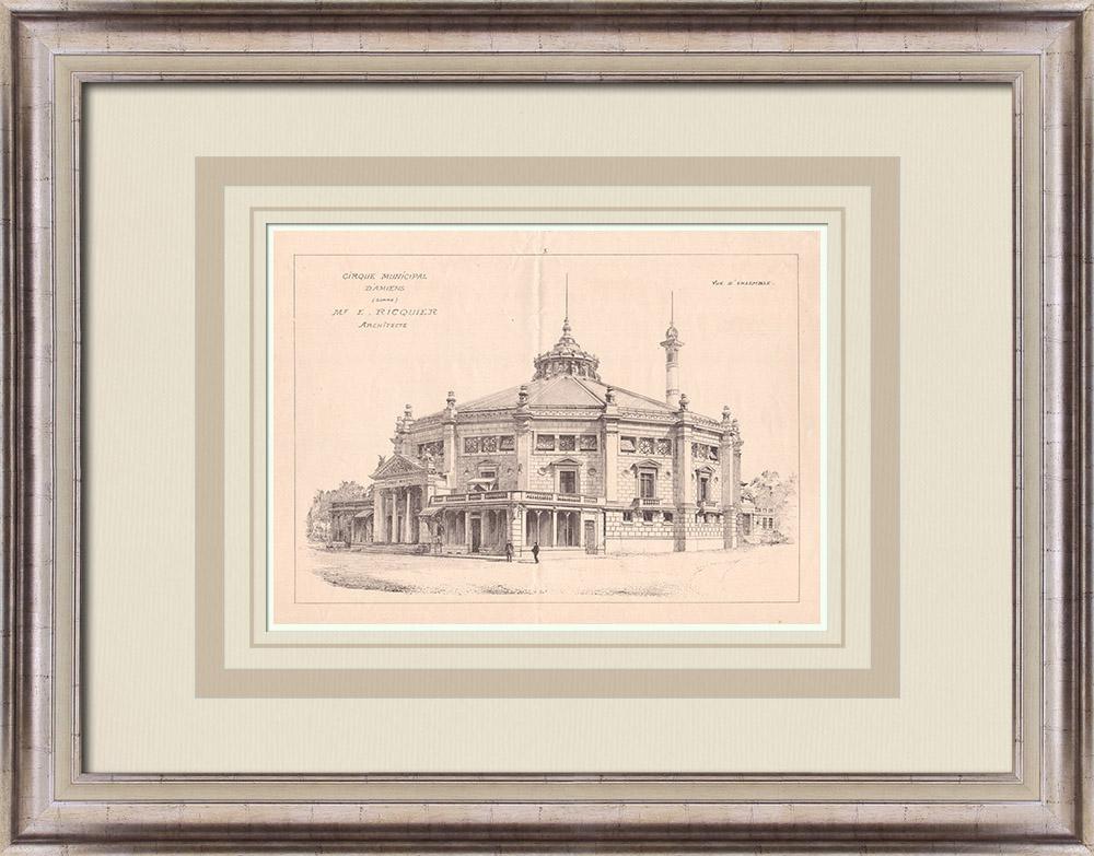 Gravures Anciennes & Dessins   Cirque d'Amiens - France (Emile Ricquier architecte)   Impression   1900