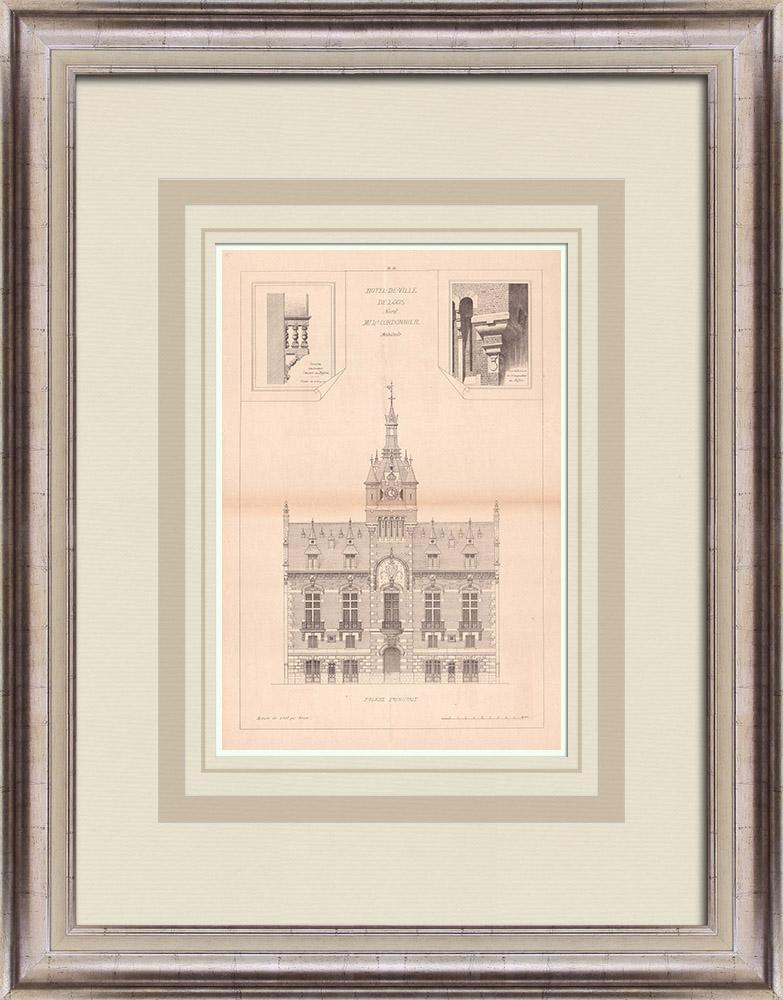 Antique Prints & Drawings | City Hall - Loos - France (L. Cordonnier) | Print | 1900
