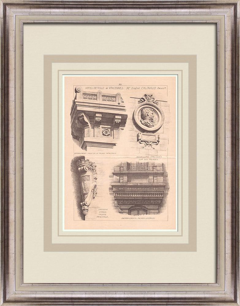 Gravures Anciennes & Dessins | Hotel de Ville de Vincennes - Ile de France (Eugène Calinaud architecte) | Impression | 1900