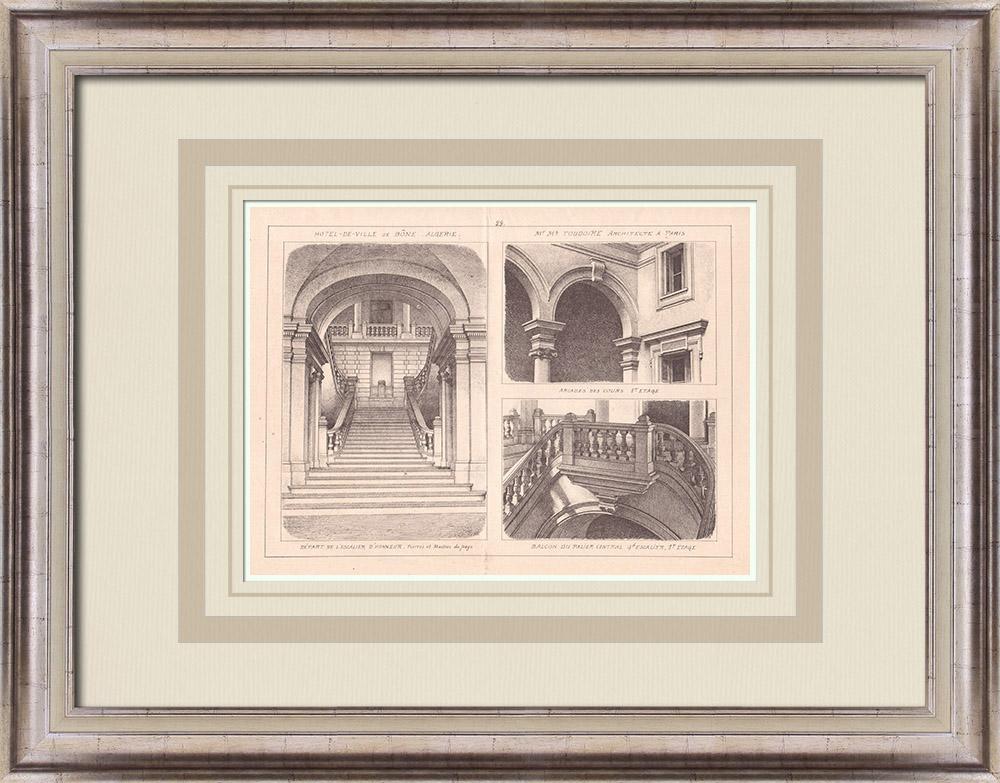 Antique Prints & Drawings | City Hall - Stairs - Bône - Algeria (M. Toudoire) | Print | 1900