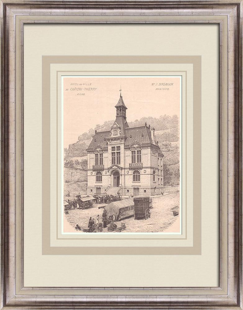 Gravures Anciennes & Dessins | Hotel de Ville de Château-Thierry - France (J. Breasson architecte) | Impression | 1900