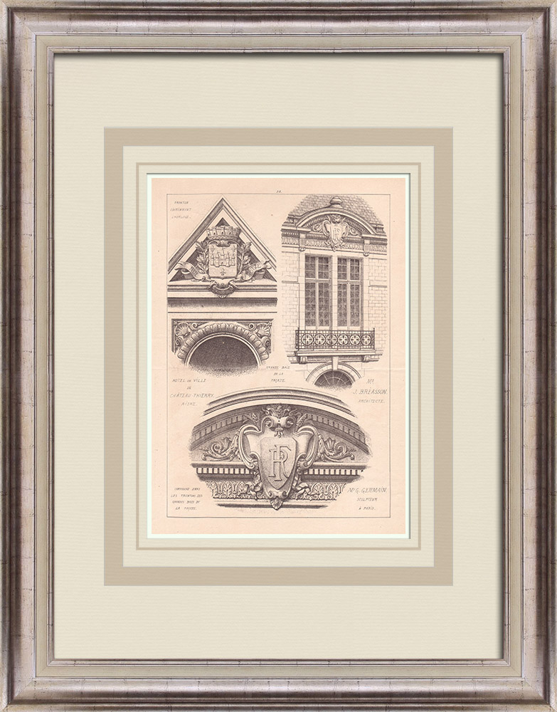 Antique Prints & Drawings | City Hall - Château-Thierry - France (J. Breasson) | Print | 1900