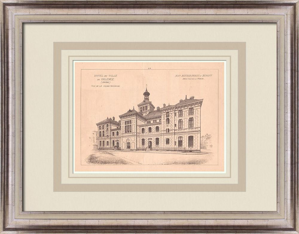 Antique Prints & Drawings   City Hall - Valence - France (Bertsch-Proust & Bichoff)   Print   1900