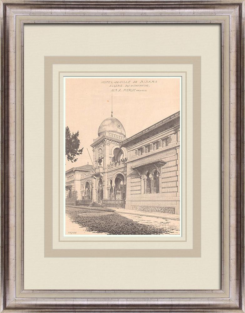 Gravures Anciennes & Dessins   Hotel de Ville de Biskra - Coupole - Campanile - Algérie (A. Pierlot architecte)   Impression   1900