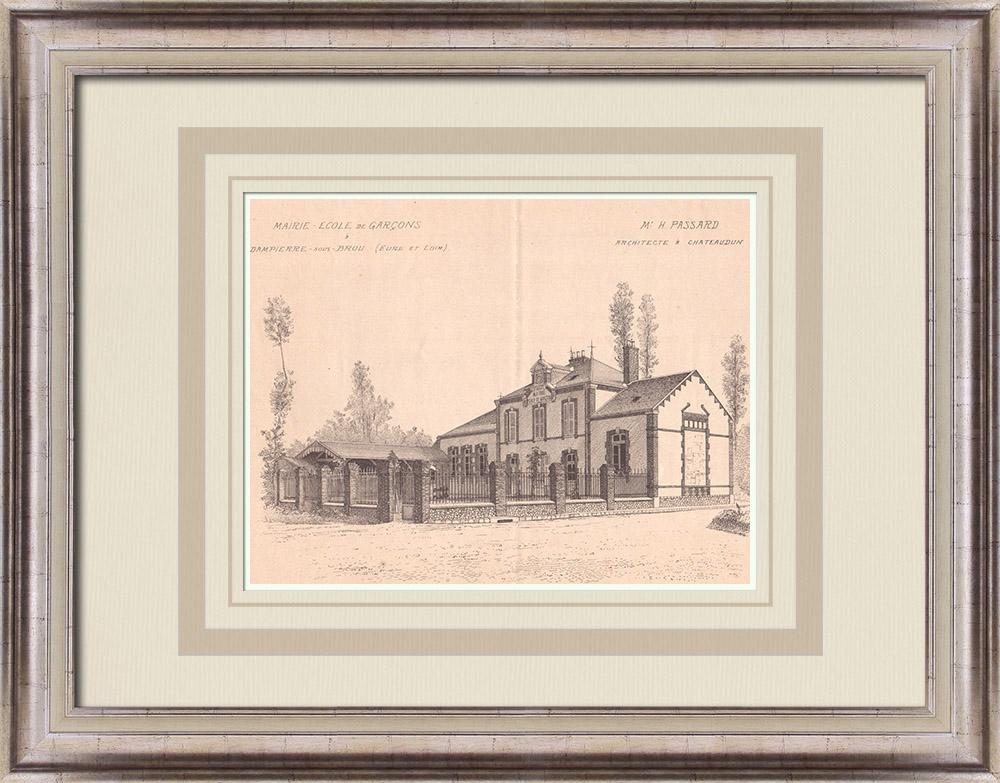 Antique Prints & Drawings | City Hall - Boys School - Dampierre-sous-Brou - France (H. Passard) | Print | 1900