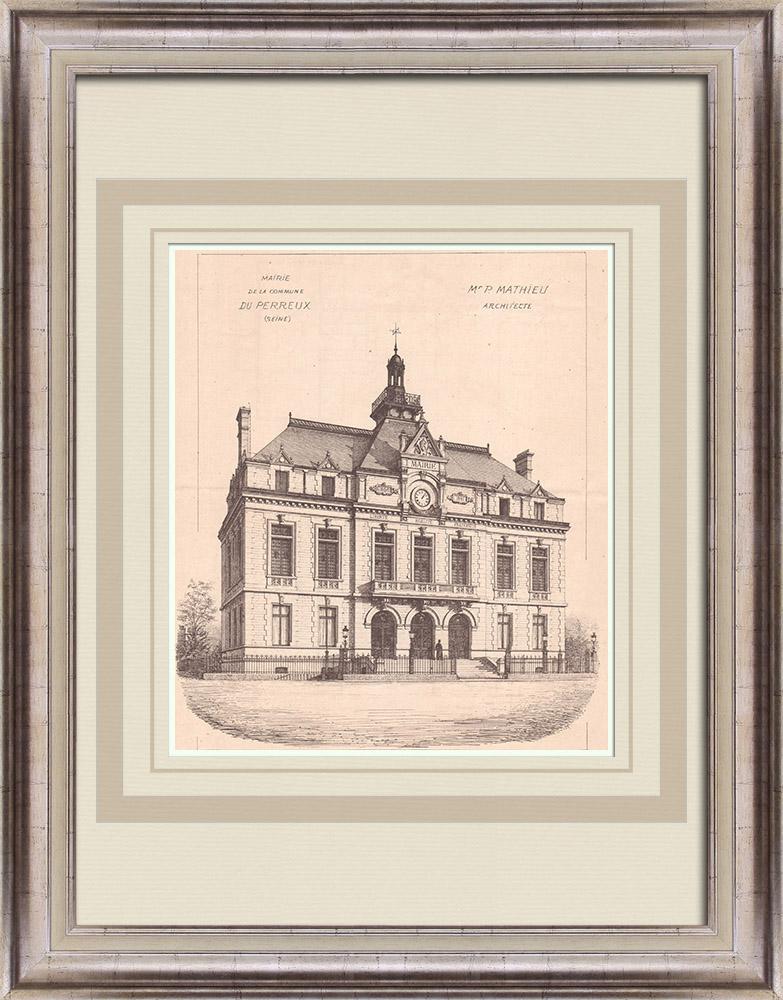 Antique Prints & Drawings | City Hall - Le Perreux - France (P. Mathieu) | Print | 1900
