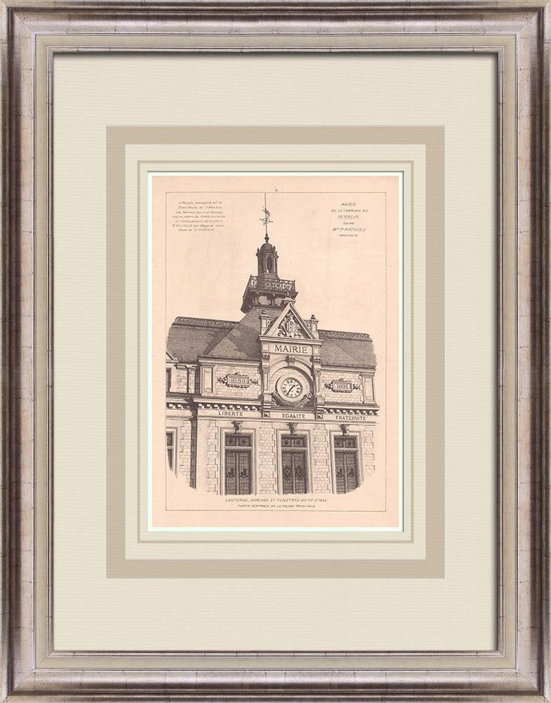 Antique Prints & Drawings   City Hall - Le Perreux - France (P. Mathieu)   Print   1900