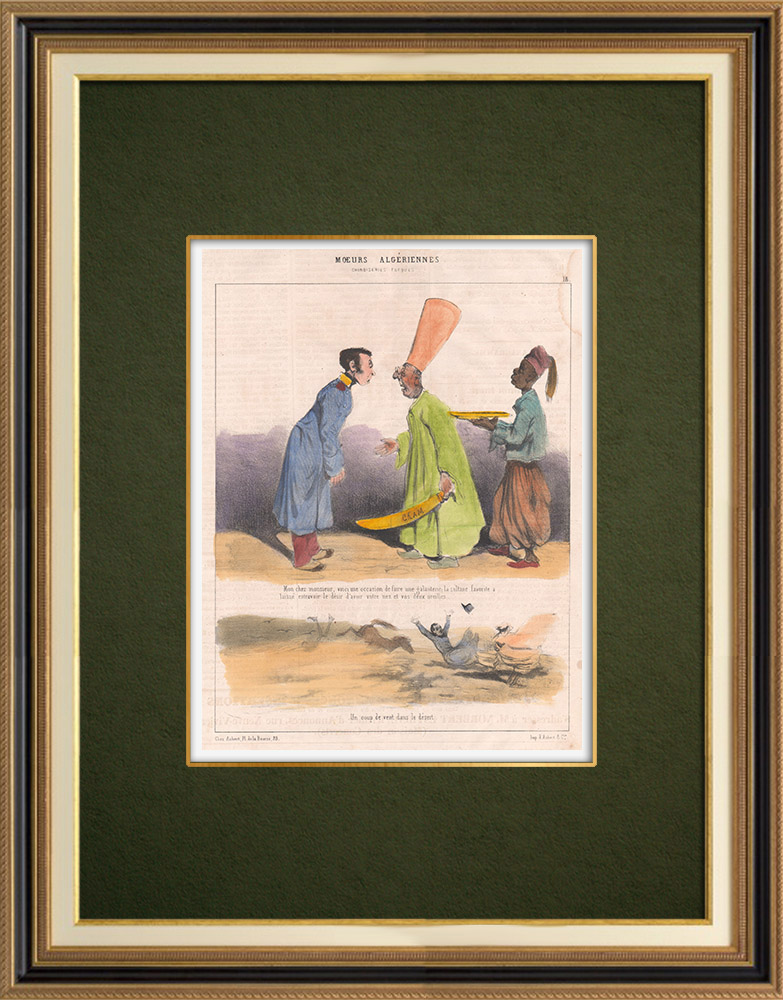 Antique Prints & Drawings   Caricature - Algeria - Algerian Mores - The Sultane wants your nose and your two ears   Lithography   1844