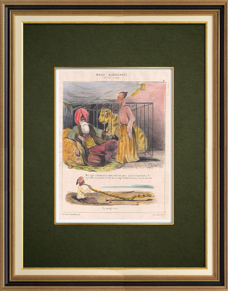 Gravures Anciennes & Dessins | Caricature - Algérie - Moeurs Algériennes - Mon tigre à le spleen | Lithographie | 1844