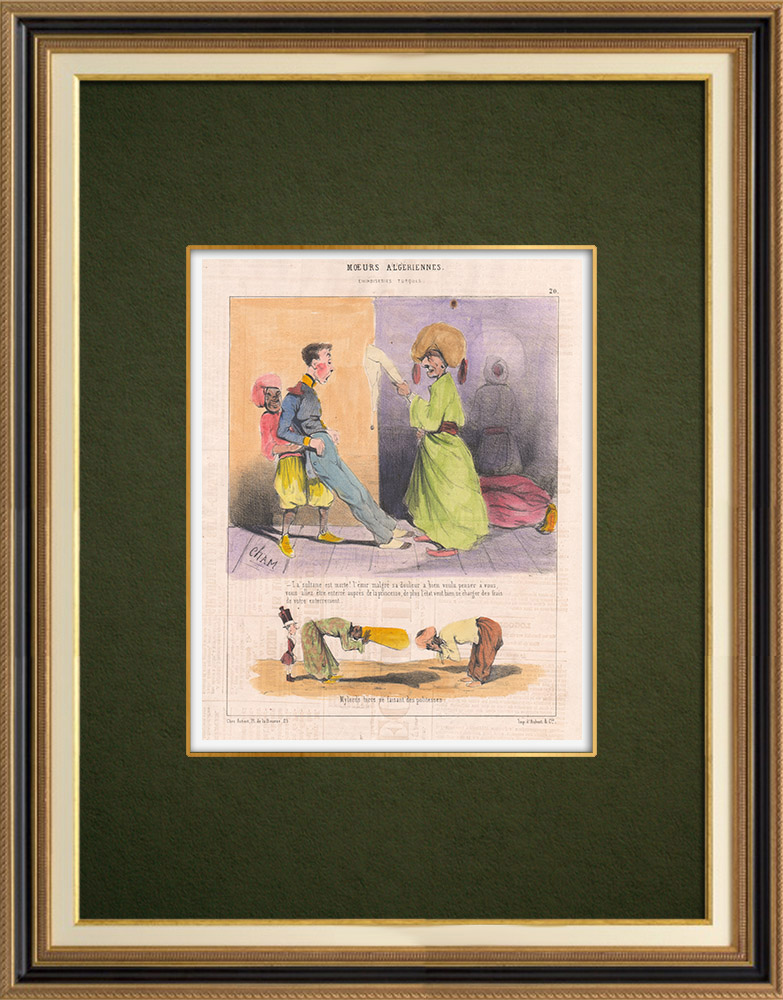 Antique Prints & Drawings   Caricature - Algeria - Algerian Mores - You are going to be buried next to the princess   Lithography   1844