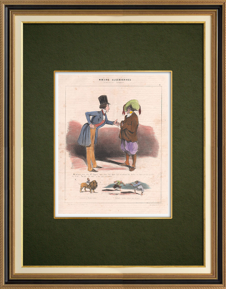 Antique Prints & Drawings | Caricature - Algeria - Algerian Mores - So you are a date seller | Lithography | 1844