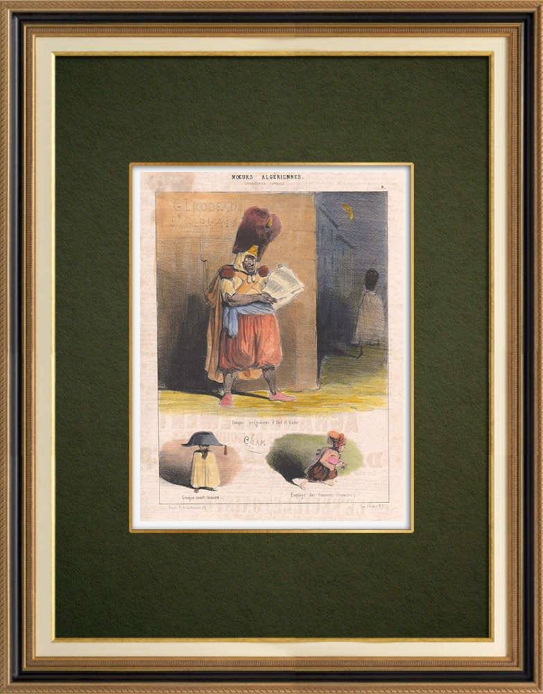 Antique Prints & Drawings | Caricature - Algeria - Algerian Mores - Abd-el Kader's irregular troops | Lithography | 1844