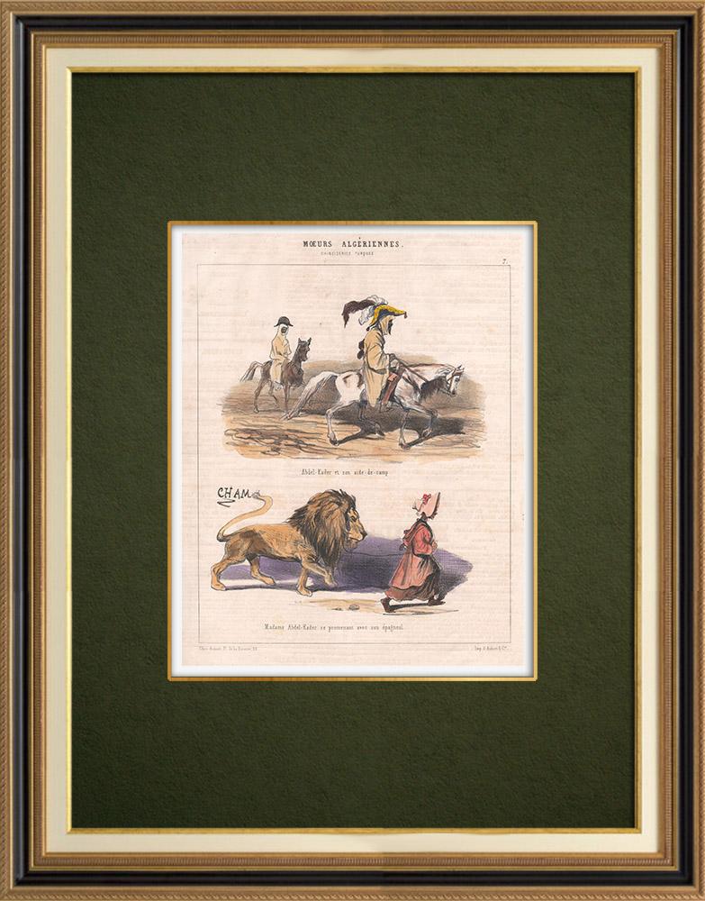 Antique Prints & Drawings   Caricature - Algeria - Algerian Mores - Abd-el Kader and his aide-de-camp   Lithography   1844