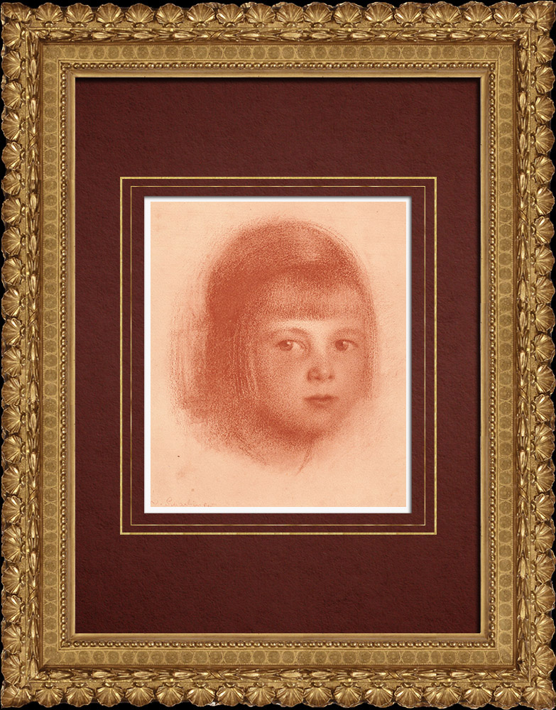 Grabados & Dibujos Antiguos | Retrato de un Niño (Walther Schachinger) 2/8 | Litografía | 1920