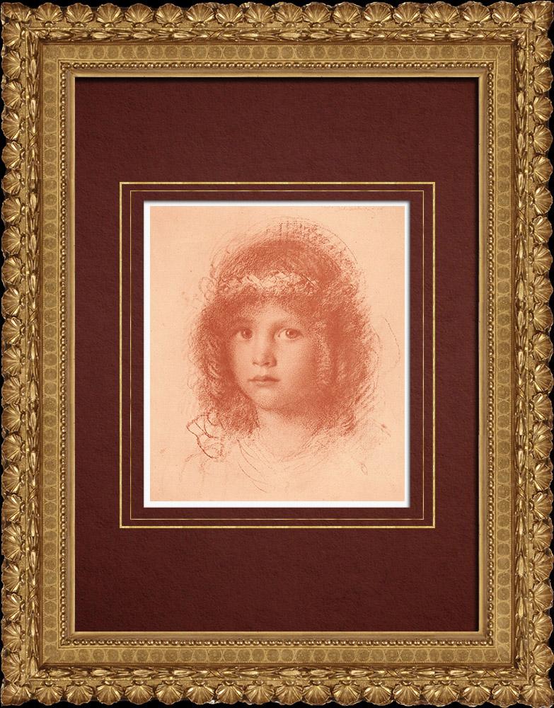 Grabados & Dibujos Antiguos | Retrato de un Niño (Walther Schachinger) 7/8 | Litografía | 1920