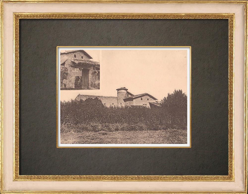 Gravures Anciennes & Dessins | Ferme provençale - Vallée du Rhône près de Loriol - Drôme (France) | Phototypie | 1928