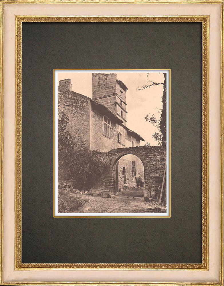 Antique Prints & Drawings   Farm in Saint Pierre du Terme close to Avignon - Side view - Vaucluse (France)   Phototypie   1928