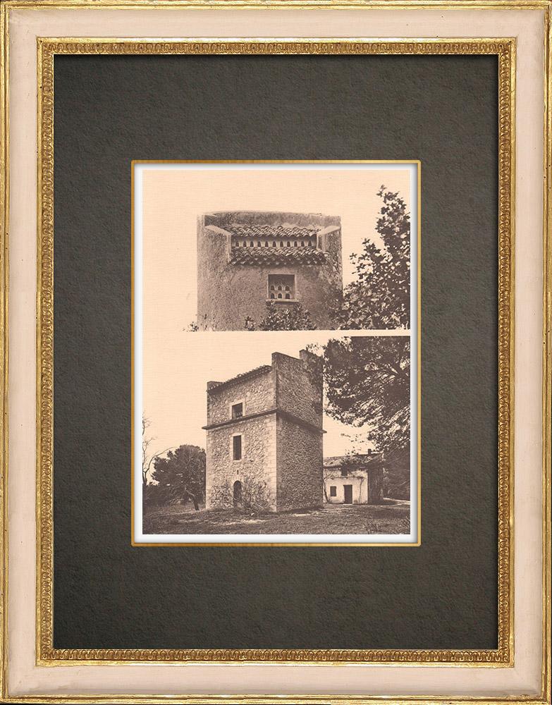 Antique Prints & Drawings | Provencal dovecotes (France) | Phototypie | 1928