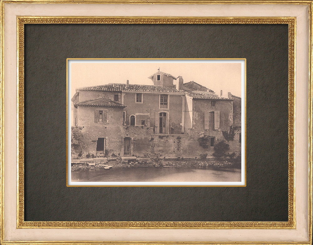 Antique Prints & Drawings   Houses on the river - Le Thor - Vaucluse - Provence (France)   Phototypie   1928