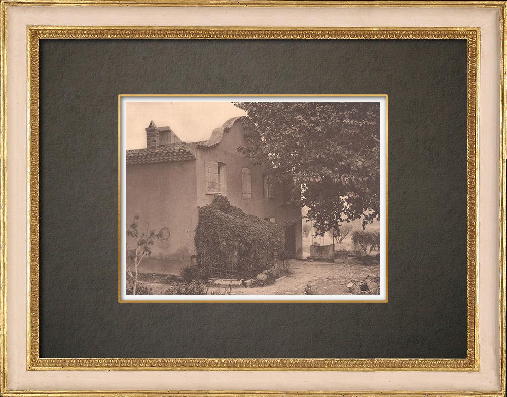 Gravures Anciennes & Dessins | Maison du fermier à Loubassane - Aix-en-Provence - Provence (France)  | Phototypie | 1928
