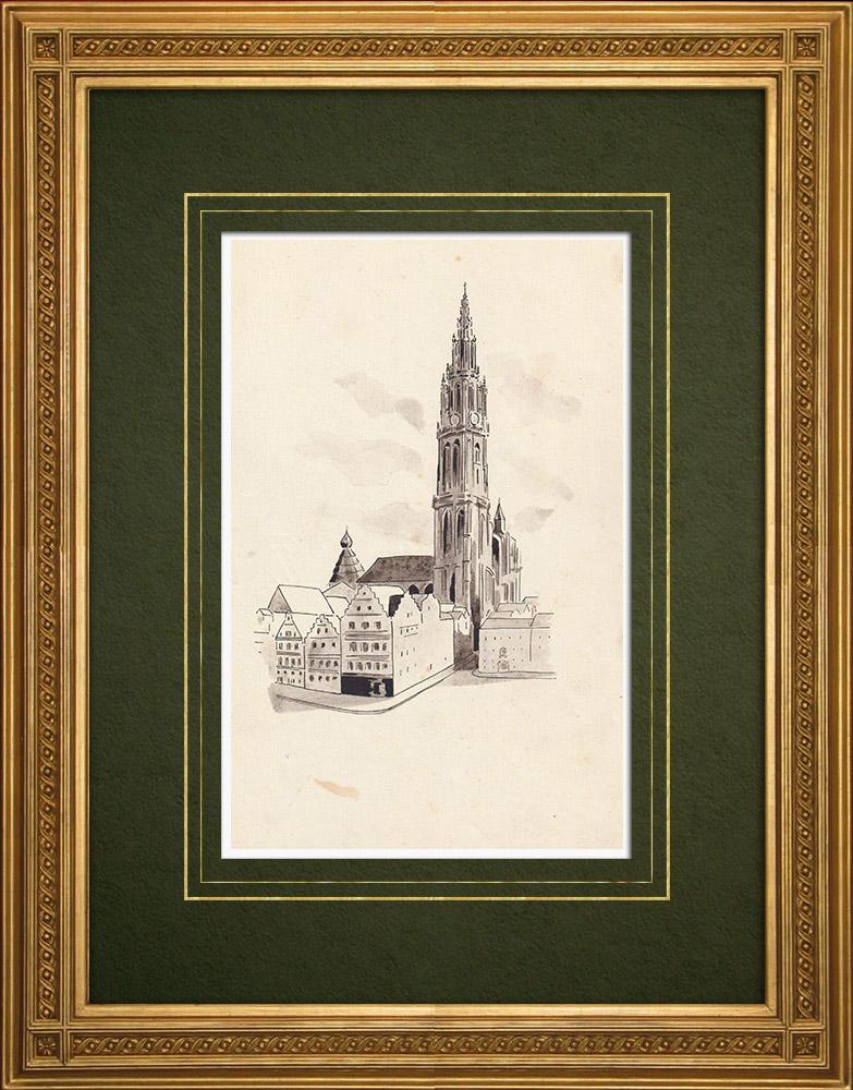 Grabados & Dibujos Antiguos | Catedral de Amberes - Antuerpia - Bélgica (Ketty Muller) | Dibujo | 1947