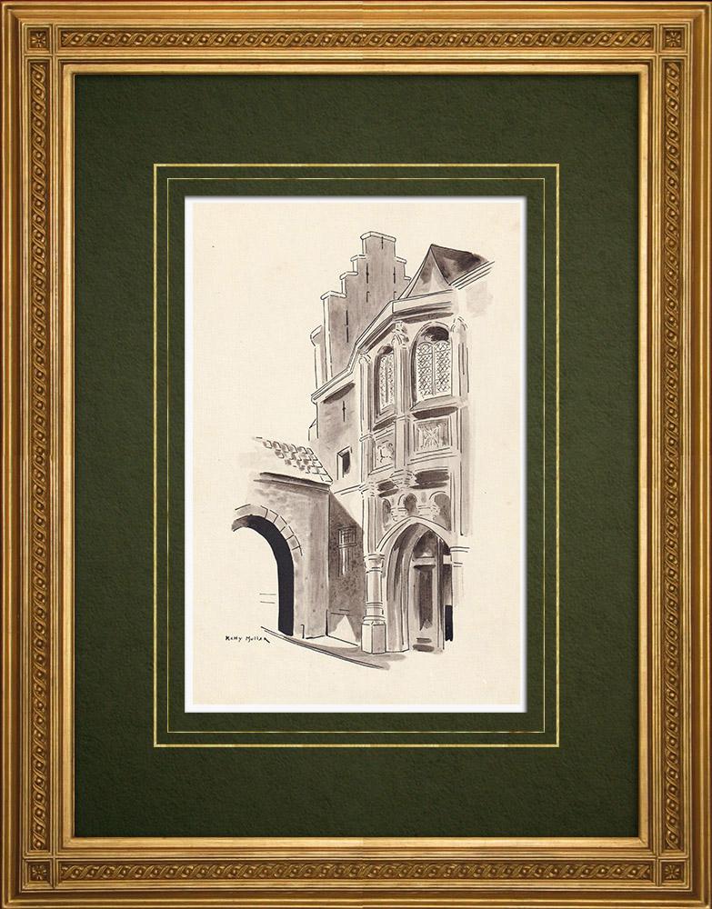 Antique Prints & Drawings   Steen - Scheldt - Antwerp - Belgium (Ketty Muller)   Drawing   1947