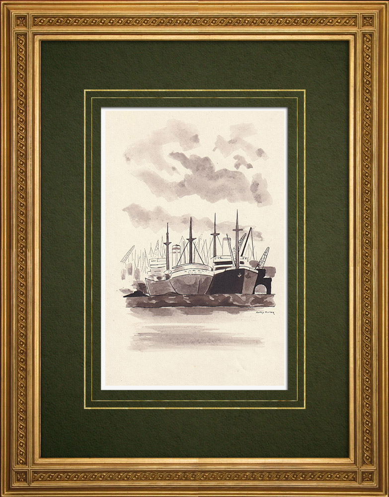 Antique Prints & Drawings | Ships in the port of Antwerp - Belgium (Ketty Muller) | Drawing | 1947