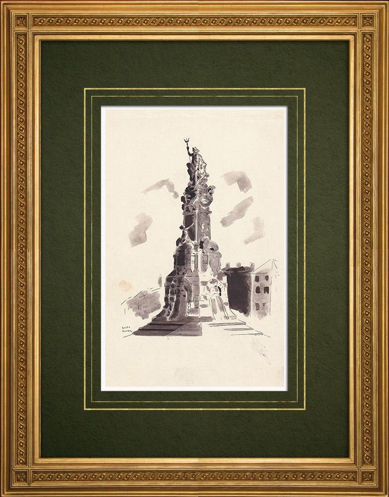 Gravures Anciennes & Dessins | Monument de l'affranchissement de l'Escaut - Anvers - Belgique (Ketty Muller) | Dessin | 1947