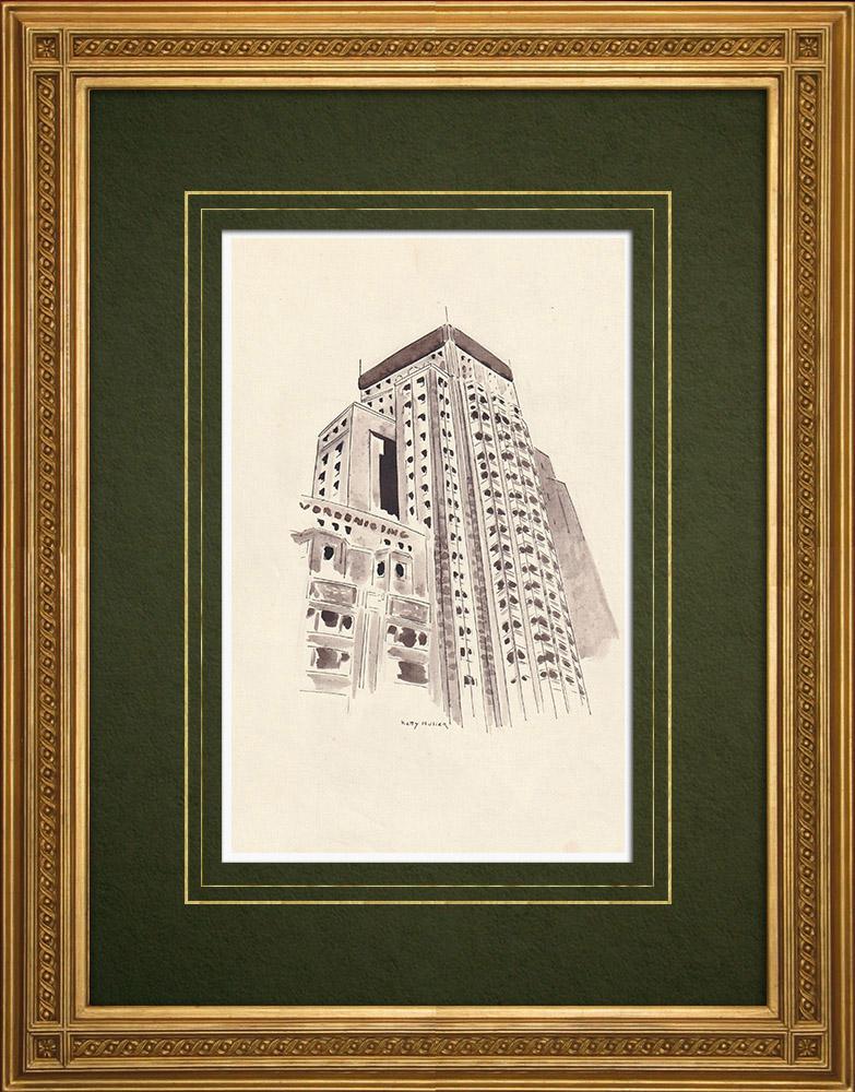 Gravures Anciennes & Dessins | Boerentoren - Tour des Paysans - Gratte-ciel - Art déco - Anvers - Belgique (Ketty Muller) | Dessin | 1947