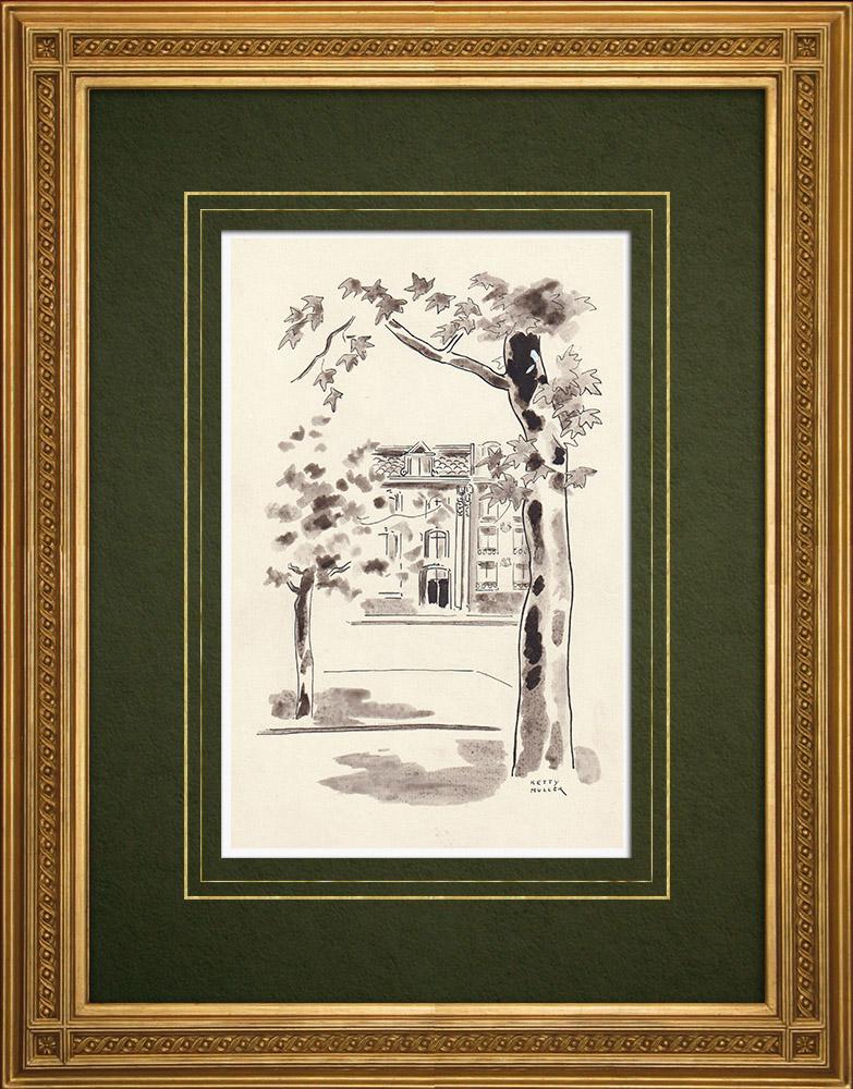 Antique Prints & Drawings   Avenues of Antwerp - Belgium (Ketty Muller)   Drawing   1947