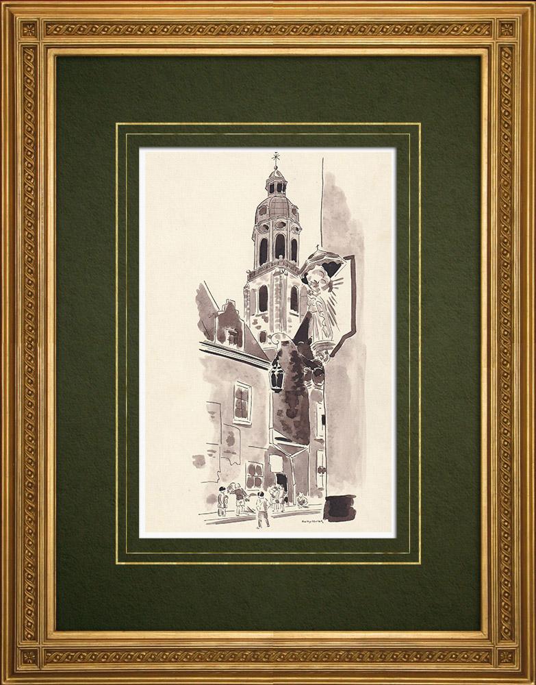 Grabados & Dibujos Antiguos   Iglesia de San Andrés de Amberes - Bélgica (Ketty Muller)   Dibujo   1947