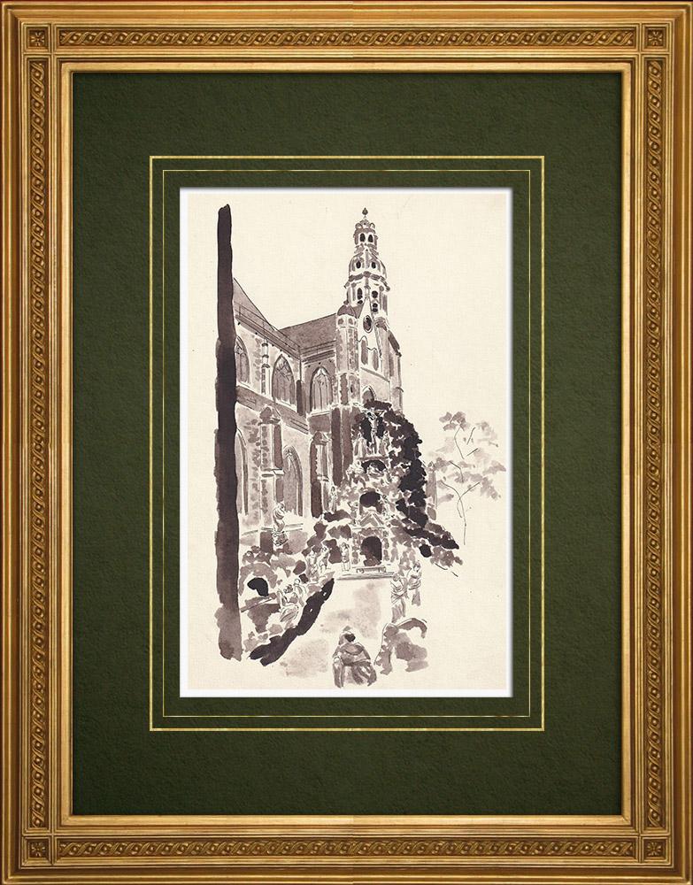Antique Prints & Drawings   Church Saint Paul in Antwerp - Belgium (Ketty Muller)   Drawing   1947